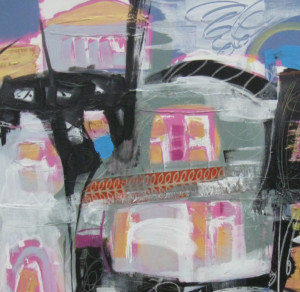Harty #1, village, 36 X 48 acrylic mixed media, use for website