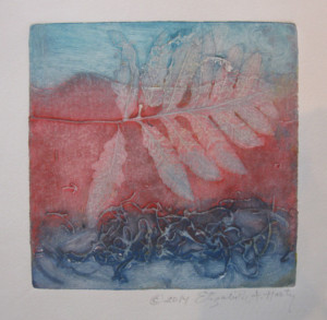 Harty #5, Leaf Collagraph Print 8 X 8 use for website copy